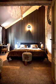 The Wild Room:  Free Wi-Fi, free Nespresso & tea and free minibar. A very cosy and unusually decorated room with original wooden beams. Bathroom in black ceramics with duo-bath & built-in flat screen TV and separate shower.