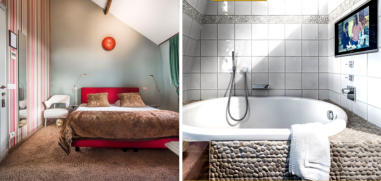 The Top Room: Comfortable Nill-Spring box springs, double Bed (180x200) or 2 Single Beds, Kusatsupool + hand-shower, water-resistant Bathroom TV, separate Rain shower + hand-shower, free mini-bar, free Nespresso-Coffee/tea, large Flat Screen TV/Radio & mo